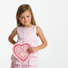 Little Girl in Pink Dress Holding Decorative Valentine Heart